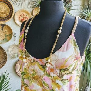 Vintage 1980's Gold Chain Pearl Necklace Estate